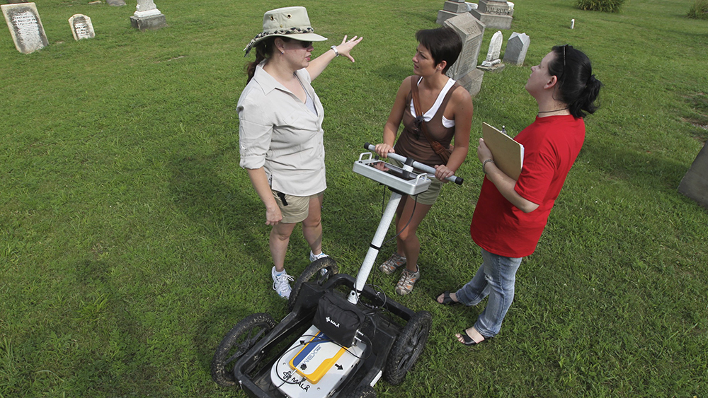 Cal U anthropology students use ground penetrating radar.