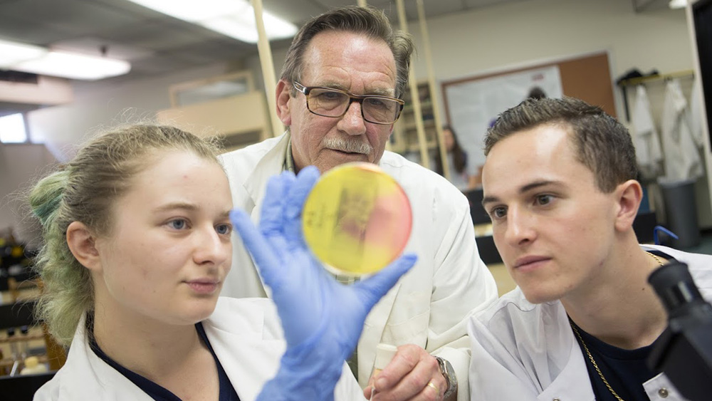 Cal U students in a biology lab observe a specimen on a Petri dish.