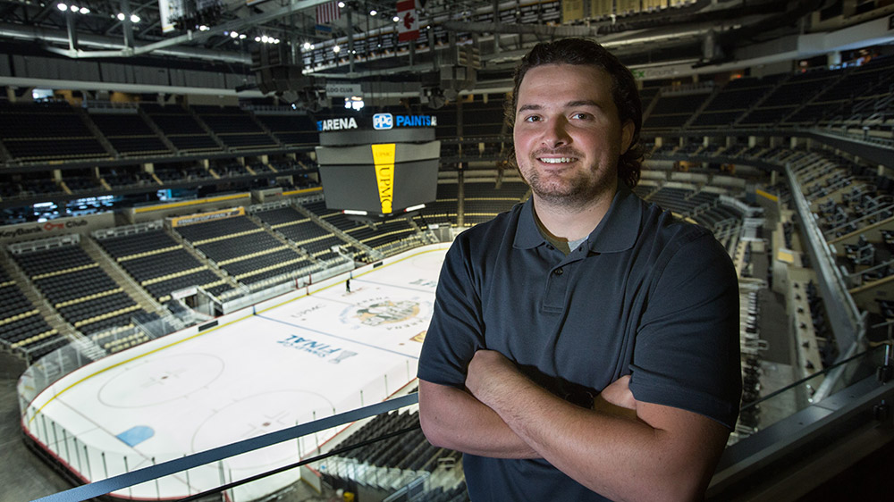 Cal U senior, Dominick DelGreco, in PPG Paints area interning for the Pittsburgh Penguins.
