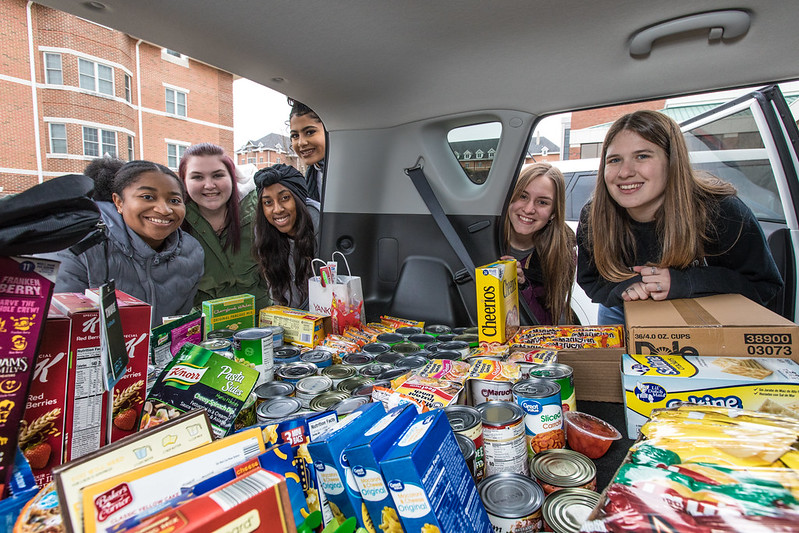 Car full of donations.