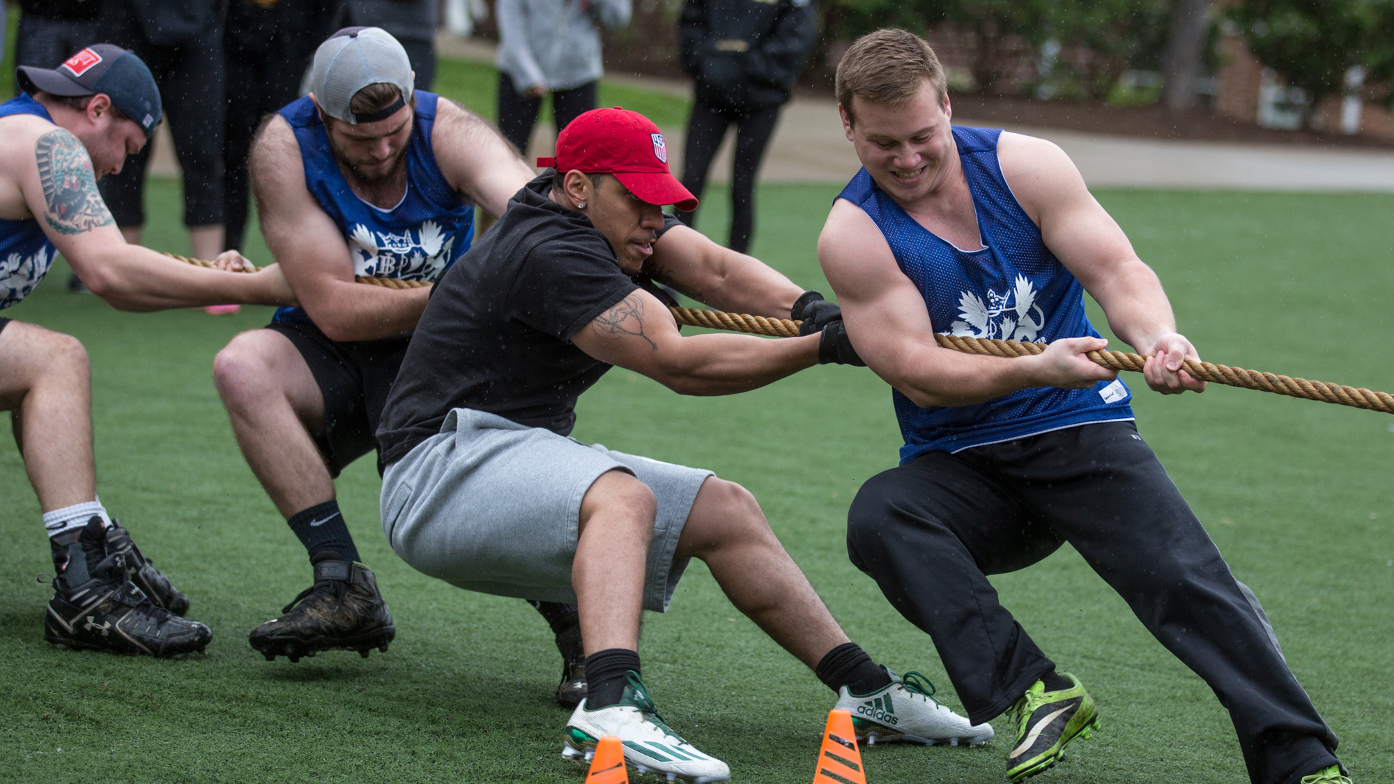 Greek students participate in tug-of-war.